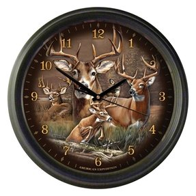 Whitetail deer collage 16 inch wall clock