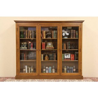 Wooden bookcases with glass doors 1