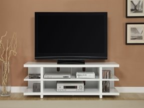 Altra open shelf tv stand with reversible back panels for