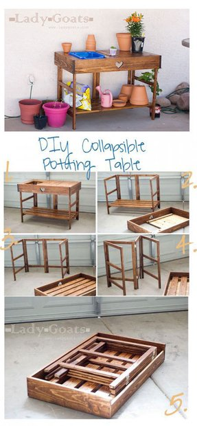 Collapsible potting table plans diy furniture hobby farming gardening