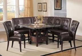Diningroom black dining table wmarble top and bench seats dining