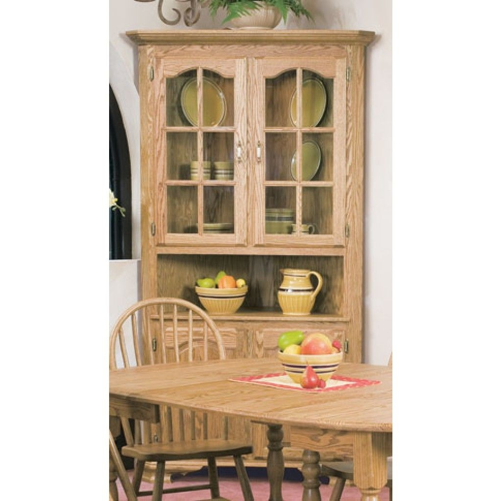 Home Solid Oak Corner China Cabinet