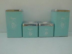 Metal kitchen canisters