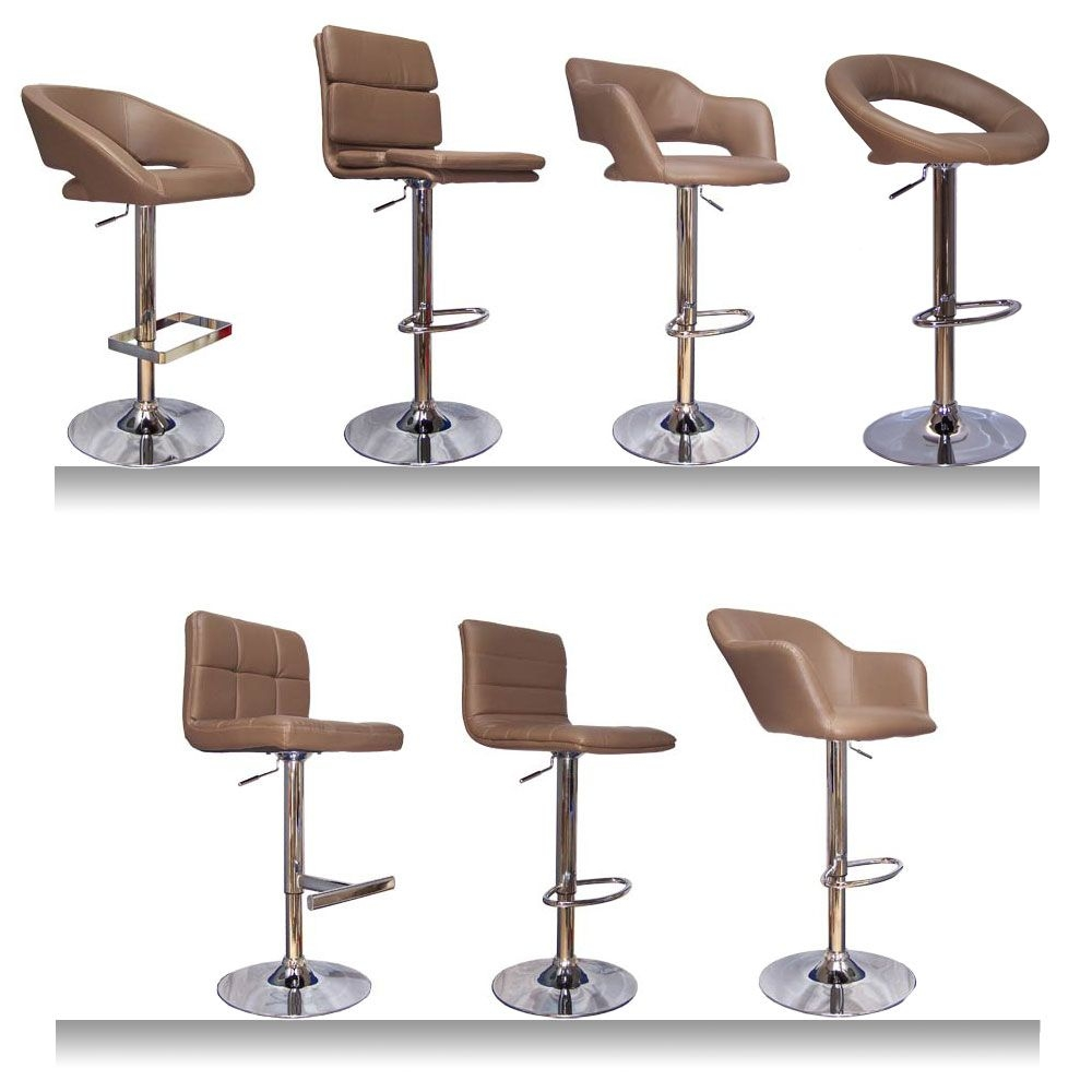 New Brown Taupe Faux Leather Abs Kitchen Breakfast Bar Stools Barstools Chrome