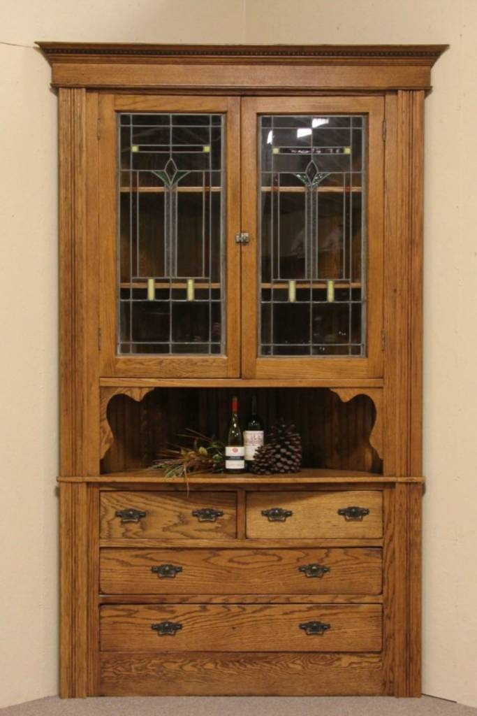 Oak Antique Corner Cabinet Leaded Stained Glass Doors