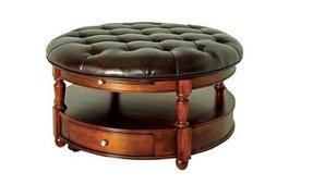 Round ottoman coffee table leather 1