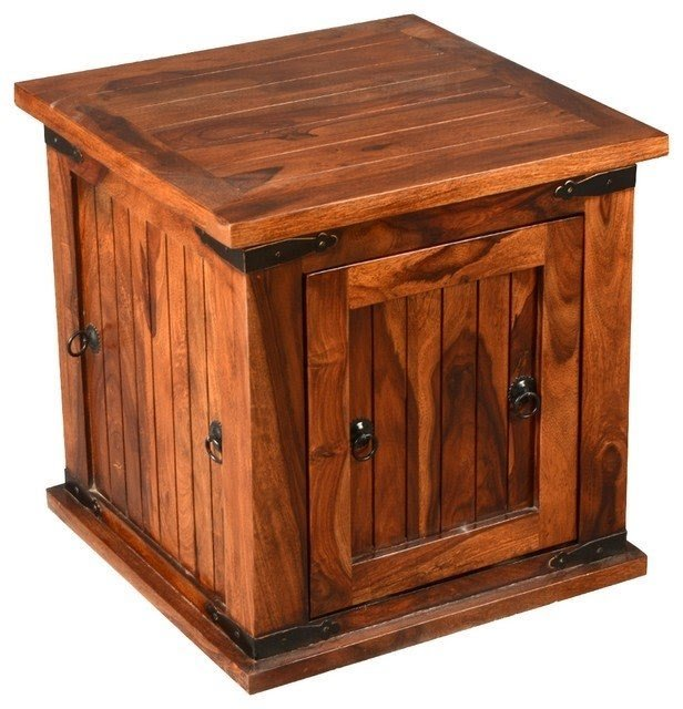 Square Storage Box Trunk End Table Rustic Side Tables And