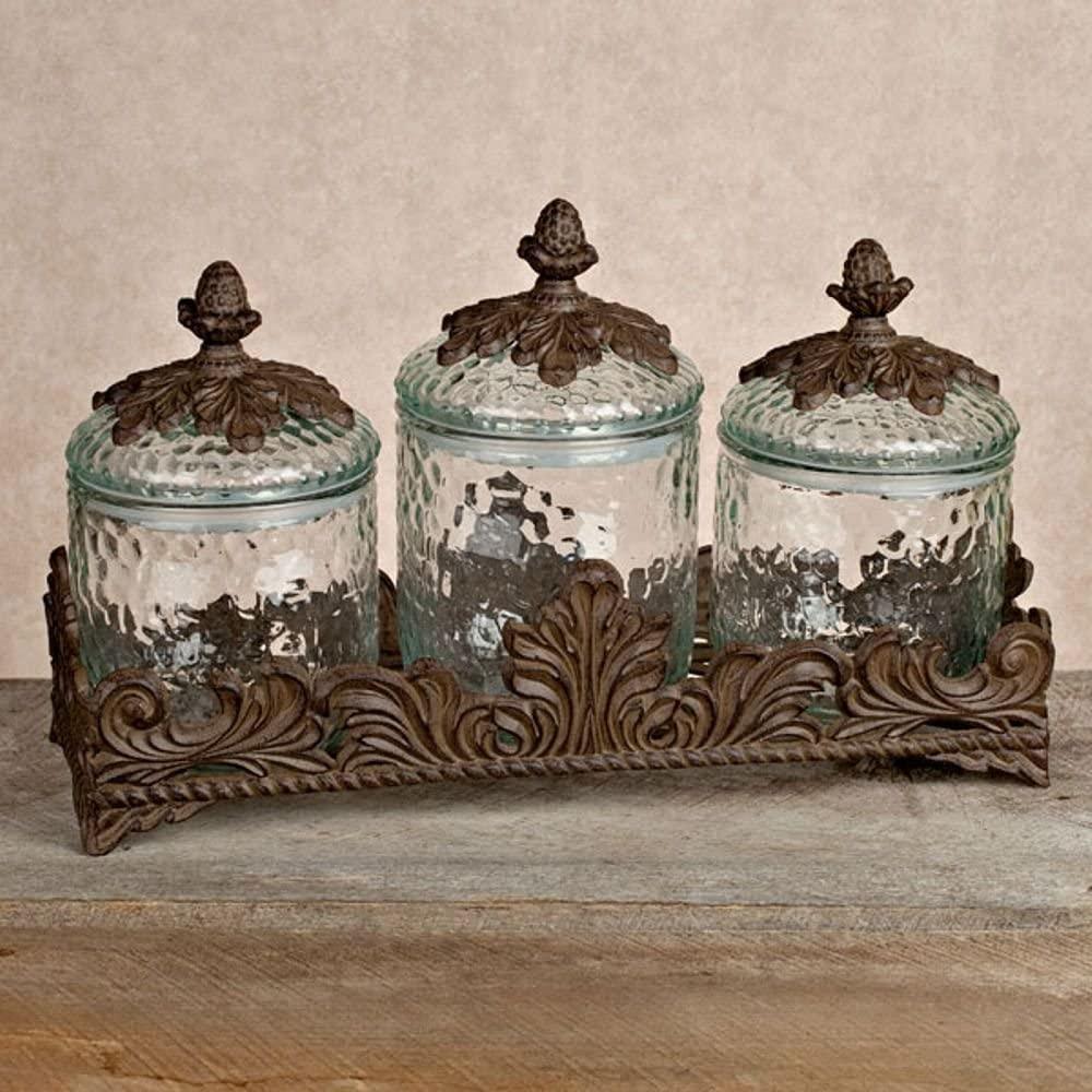 3 Set Mason Decor Jar Kitchen Canister Large Round Ceramic Sets Vintage Rustic