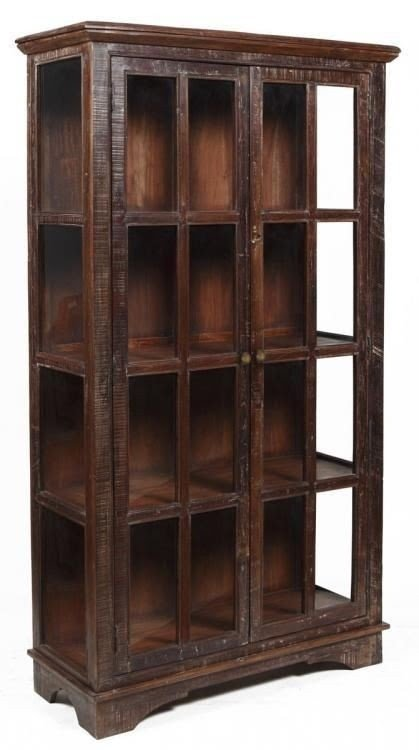82 H Large Display Curio Cabinet Sun Rustic Finish Solid Reclaimed Wood