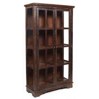 82 h large display curio cabinet sun rustic finish solid