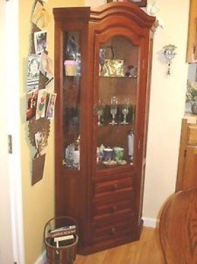 About lighted corner curio cabinet china display 3 shelves 3