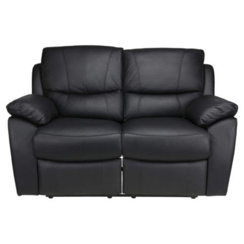 Austin Small 2 Seater Leather Recliner Sofa Black