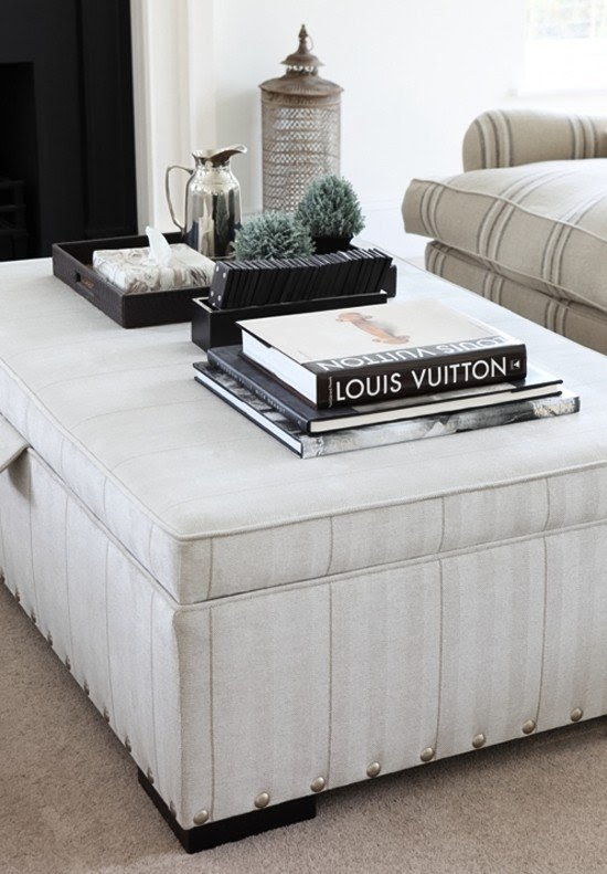 Classy Ottoman Coffee Table Vignette By Ham Interiors 1