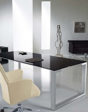 Estime contemporary glass top desk