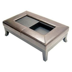 Leather storage ottoman and coffee table