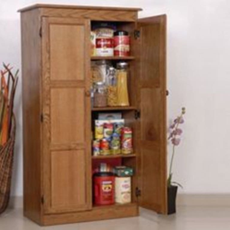Multi Purpose Storage Cabinet Pantry Oak Contemporary Pantry