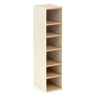 Storage Cupboard Tower Open Cream Beech 6 Shelf Narrow Tall