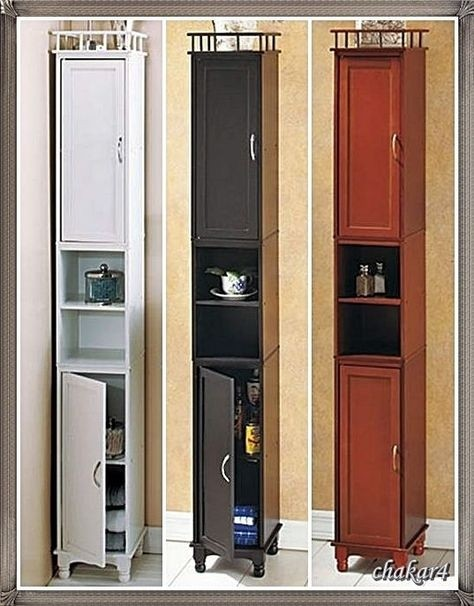 Perfect Tall Narrow Wooden Bathroom Small Room Storage Cabinet In Three