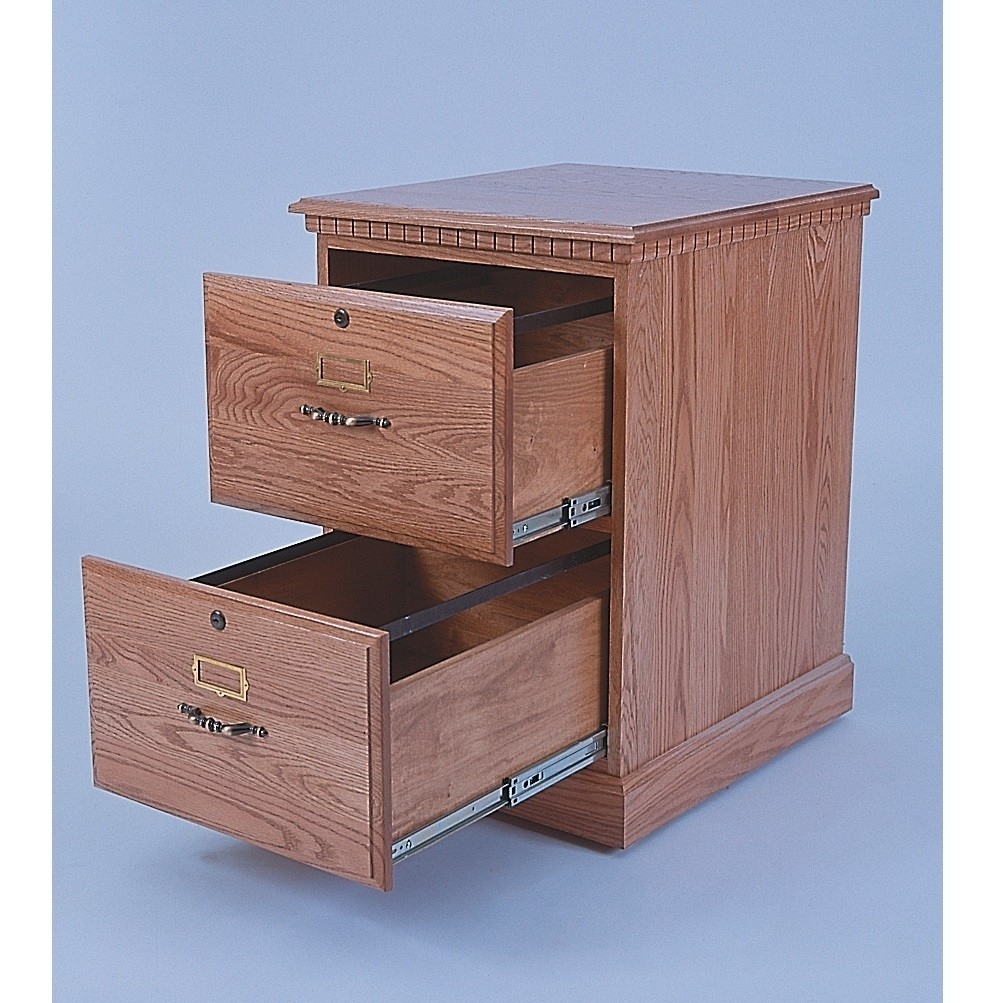 Wood 2 Drawer File Cabinet With Metal Rails