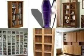 Wooden bookcases with glass doors