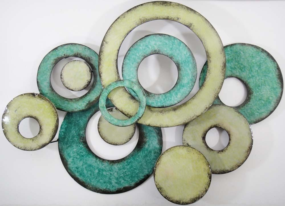 Abstract Circle Metal Art Metal Wall Art Aqua Linked
