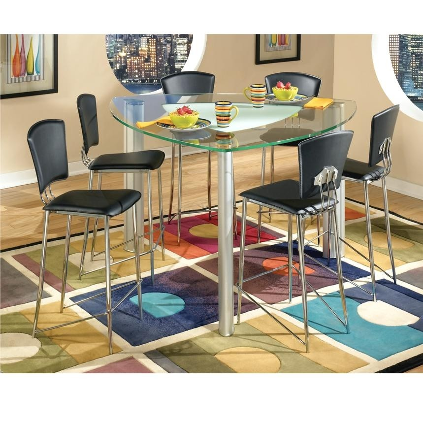 Chairs And Triangular Top Table Cilla Counter Height Dining Set