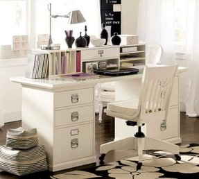 Home Office Furniture White Color Theme Set