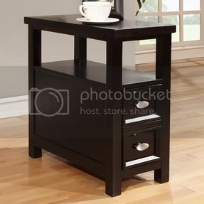 Modern Black Wood Rectangle Shaped Chairside Sofa End Table W