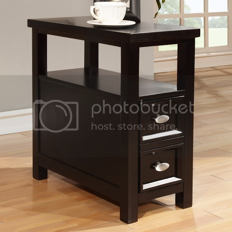 Merveilleux Modern Black Wood Rectangle Shaped Chairside Sofa End Table W