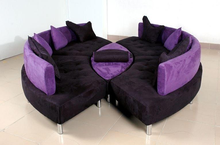 Piece Black Purple Microfiber Contemporary Sofa Sectional 2195