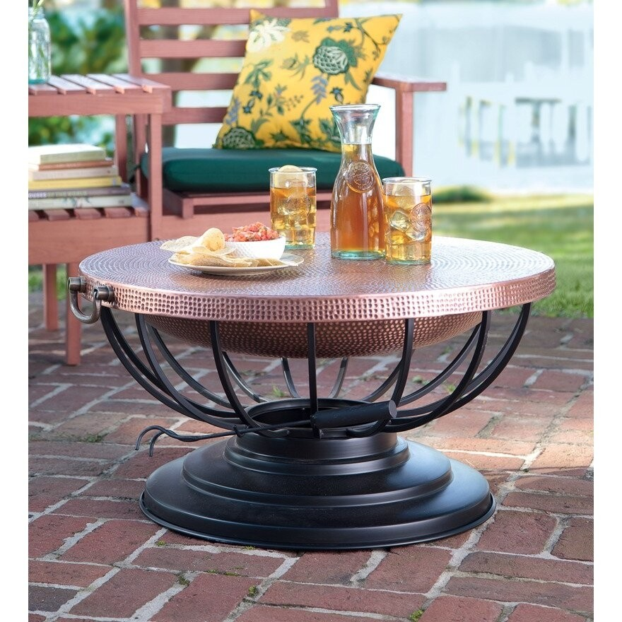 Charmant Solid Hammered Copper Fire Pit With Lid Converts To Table