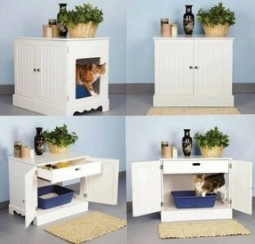 furniture two corner carpet beige entries wood box cat with