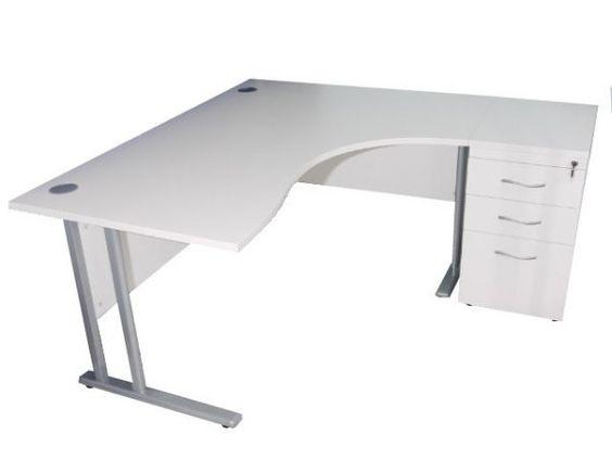 White Office Desk Curved Executive Desk Drawer Set