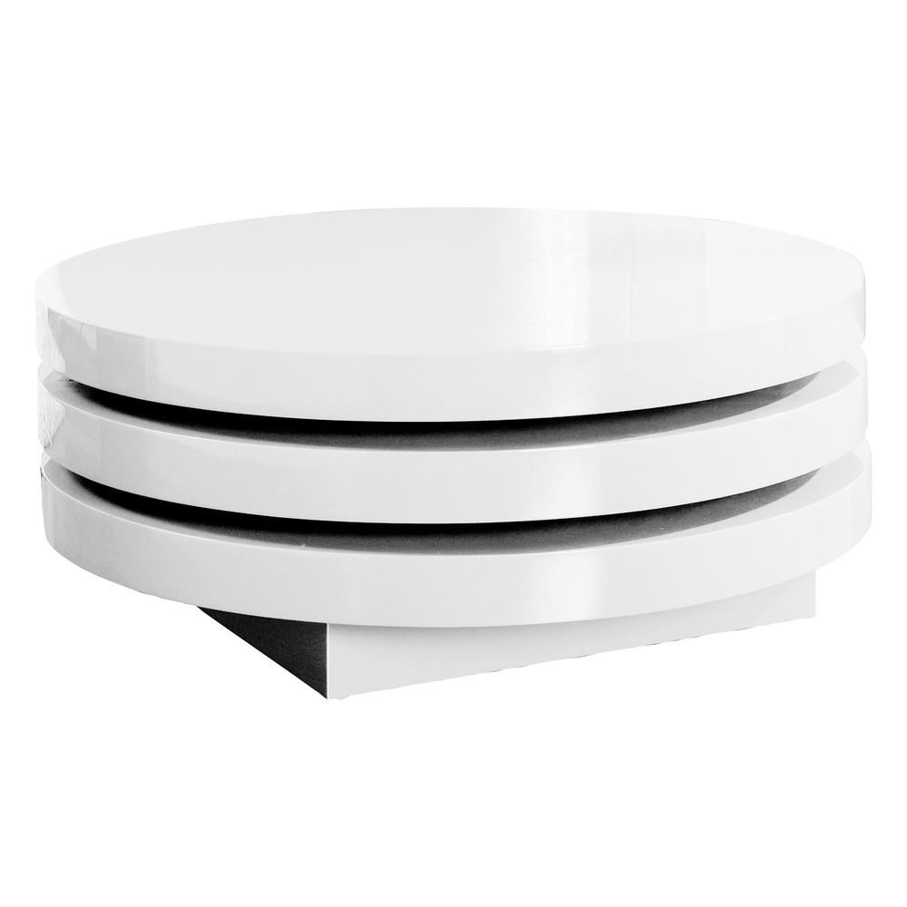 Triplo Round Gloss Swivel Coffee Table White