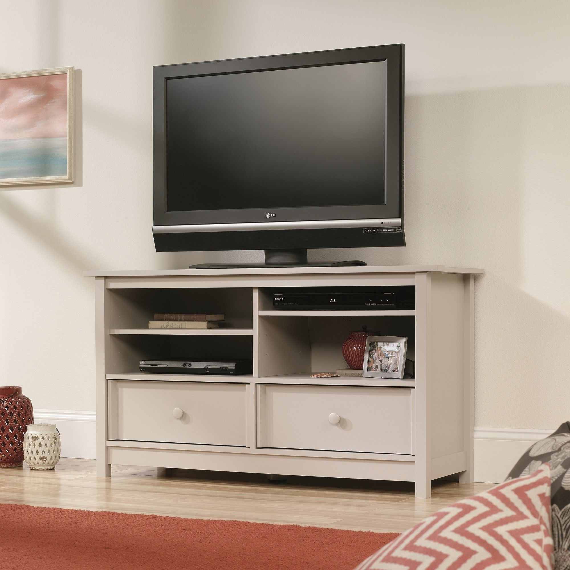 This Piece Of Furniture Is A Very Solid And Functional TV Stand. Its  Durable Frame Includes Open Shelves For DVD Players And Other Devices.