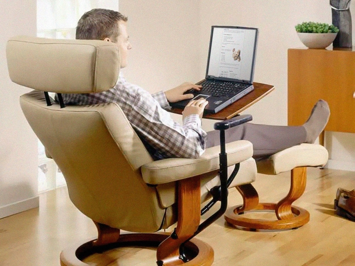Ekornes stressless pc laptop computer table for recliner chair walnut