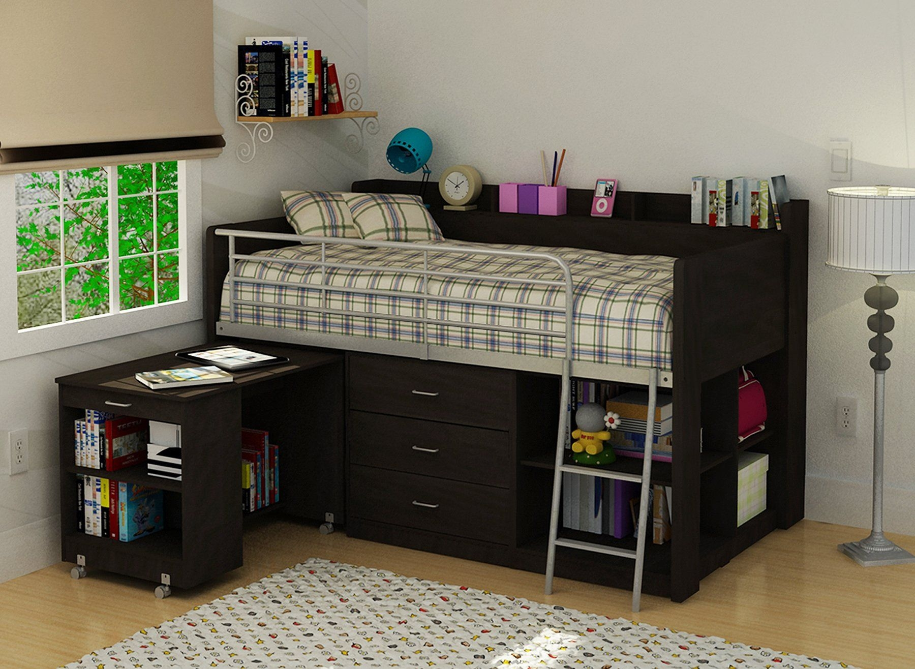 Lovely Bed With Study Table Design