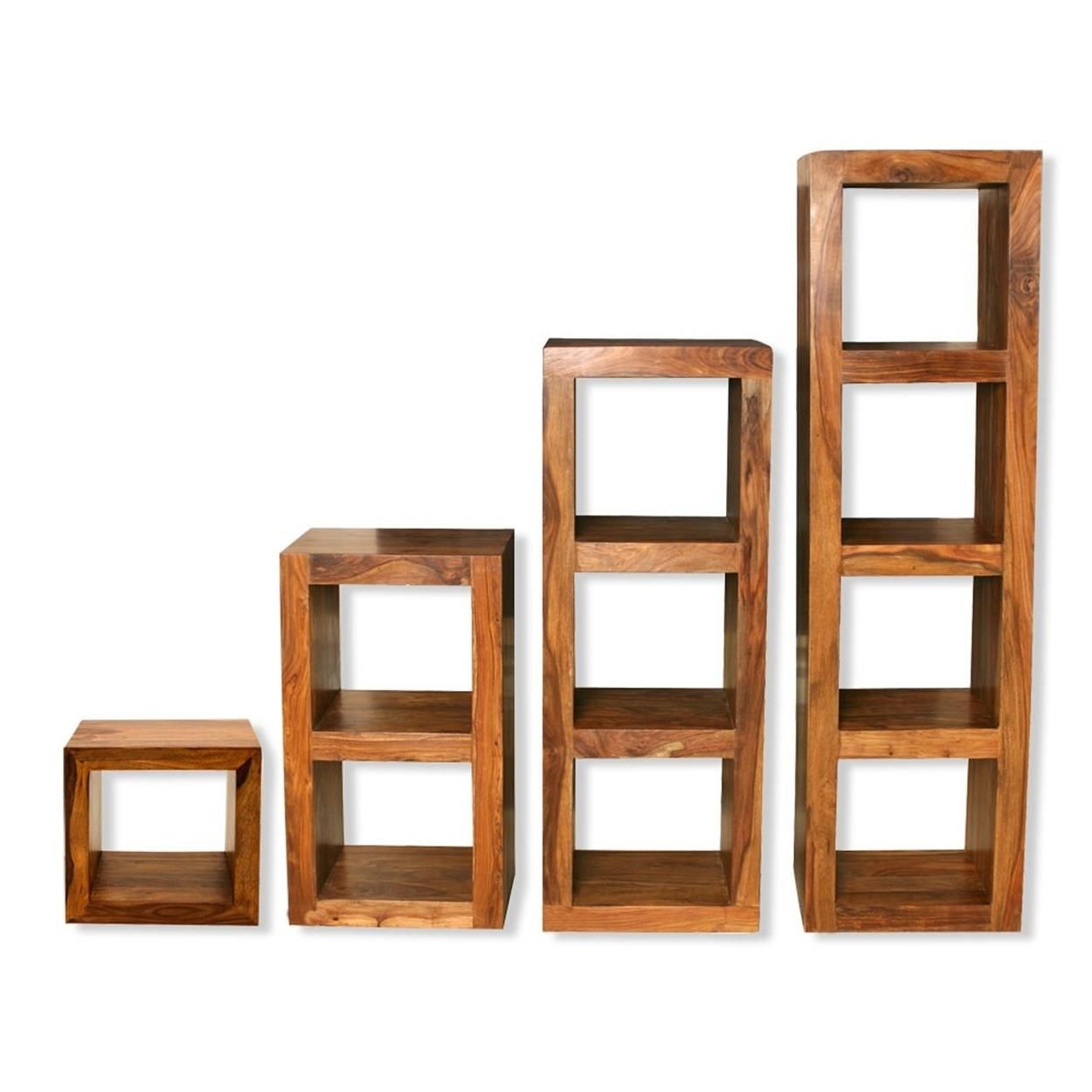 Cube shelving units solid sheesham wood