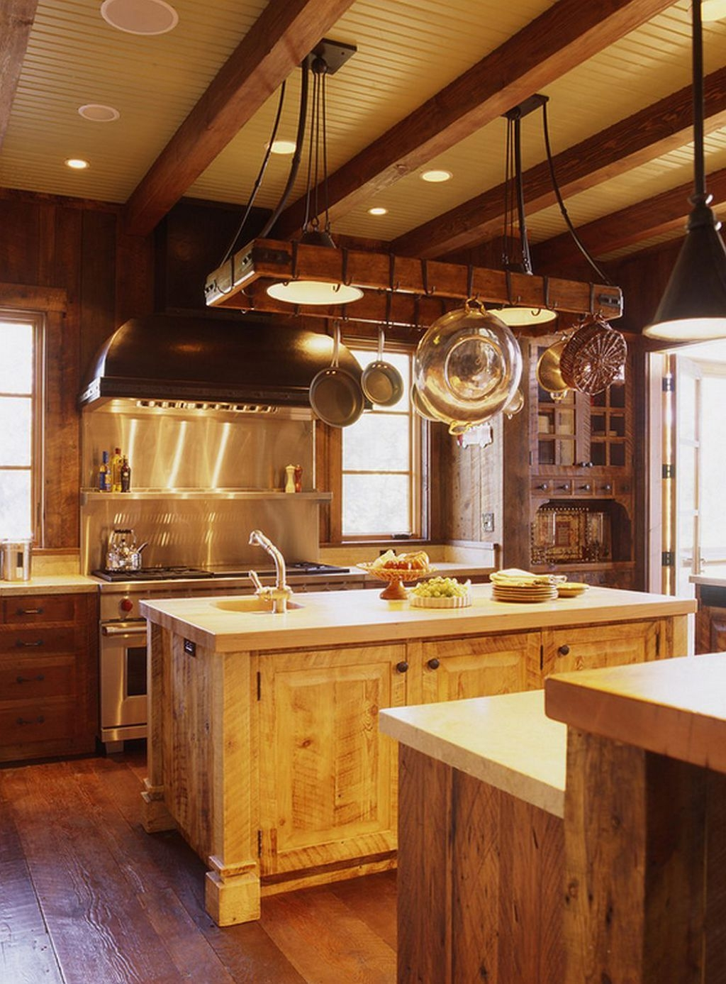 Superbe Custom Kitchen Islands With Wood Countertops And Hanging Pot Rack