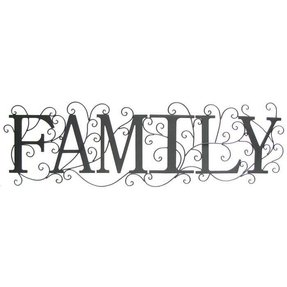 Decor Art Words Phrases Signs Wall Black Family Metal