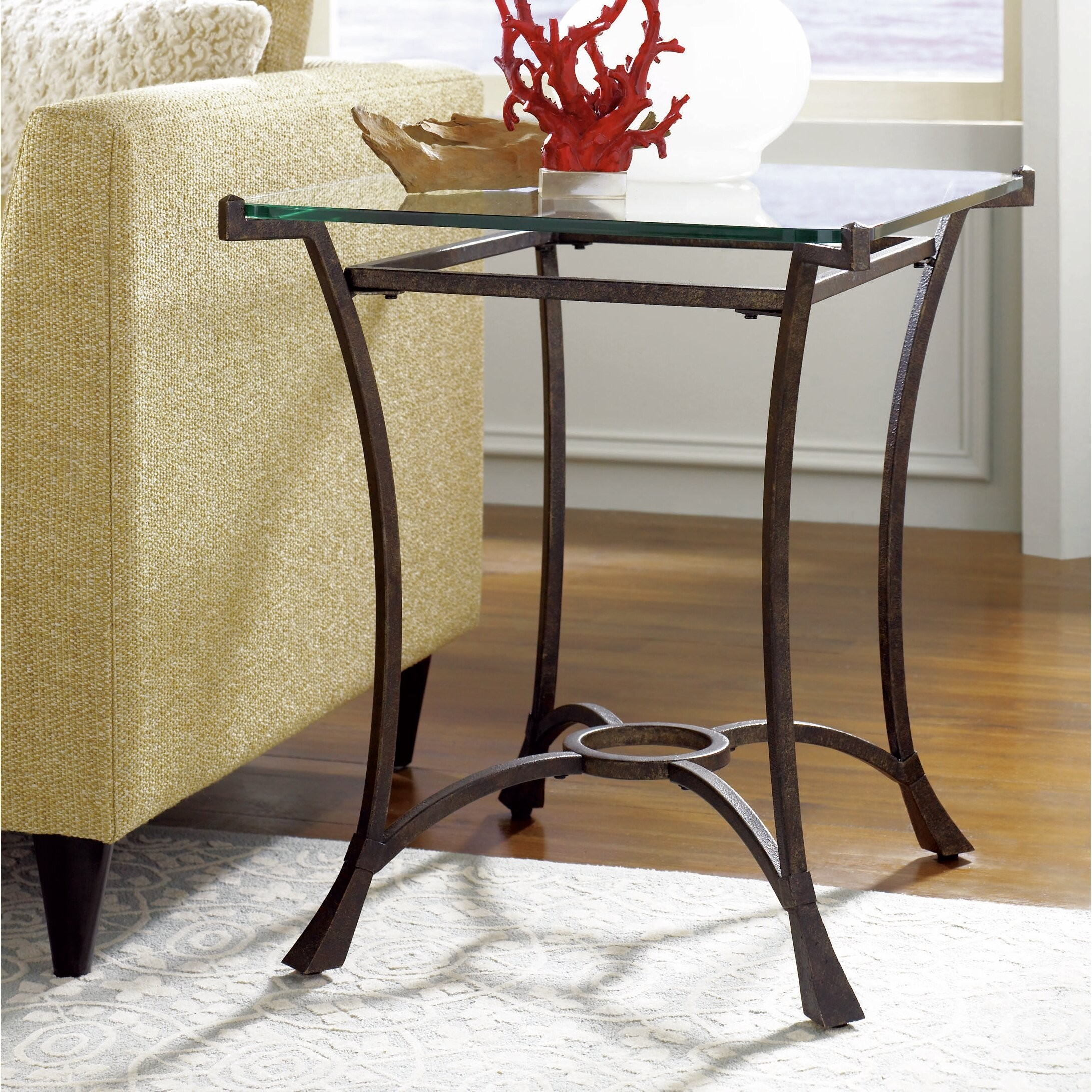 Beau Glass Top End Tables Metal