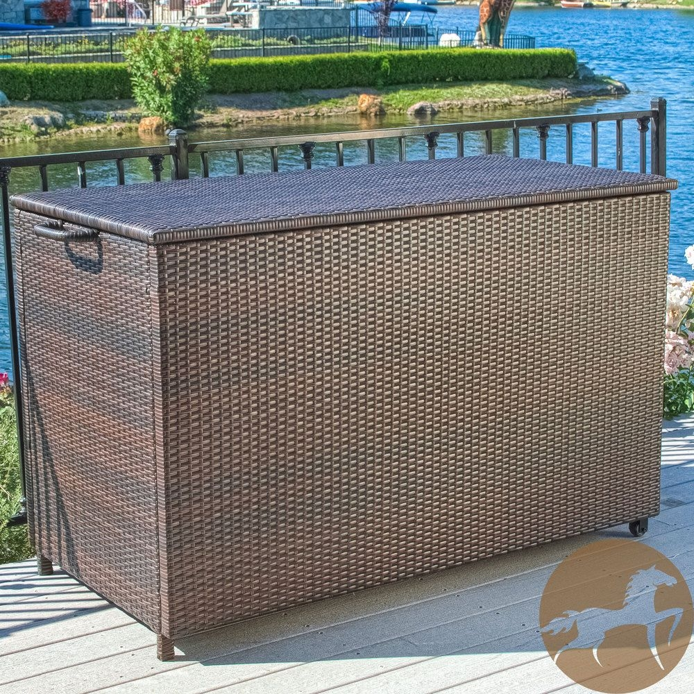 Large Brown Wicker Cushion Box House Your Patio Furniture Cushions