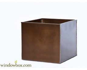 Square galvanized metal planter liner