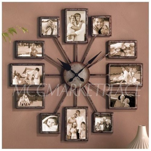 Photo Frame Clock Multi Picture Aperture Family Photo Frame Clock Made of Silver Aluminum