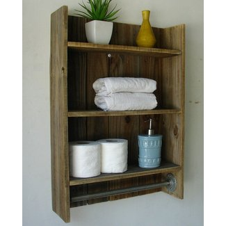Wooden Bathroom Towel Rack Shelf Wood 3tier Simply