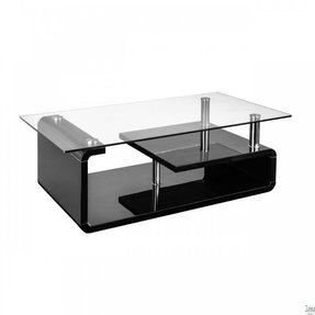 9e8afbeeb4f04 Black coffee table with clear tempered glass top and chrome