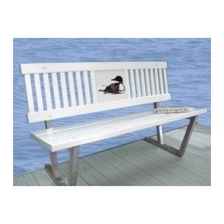Decorative bench with loon