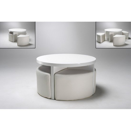 Beautiful Details About Round Gloss White Coffee Table 4 Stools 5075