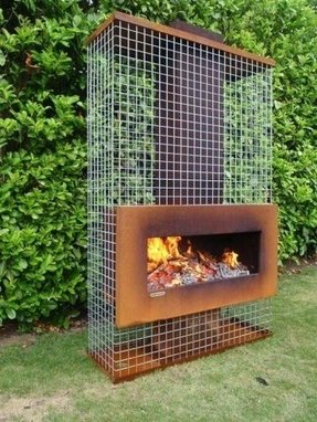 Metal outdoor modern fireplace with gauze