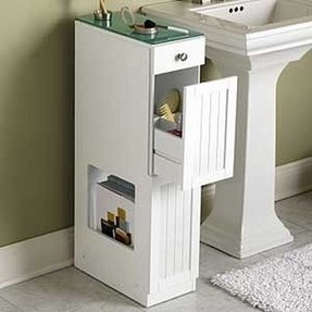 Over toilet and sink saver organizer creates storage in small